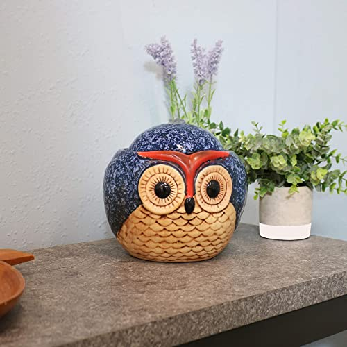 Sunnydaze 6-Inch Ceramic Owl Indoor Tabletop Water Fountain – Interior Water Feature for Home and Office – Small Decorative Fountain for Desktop and Table