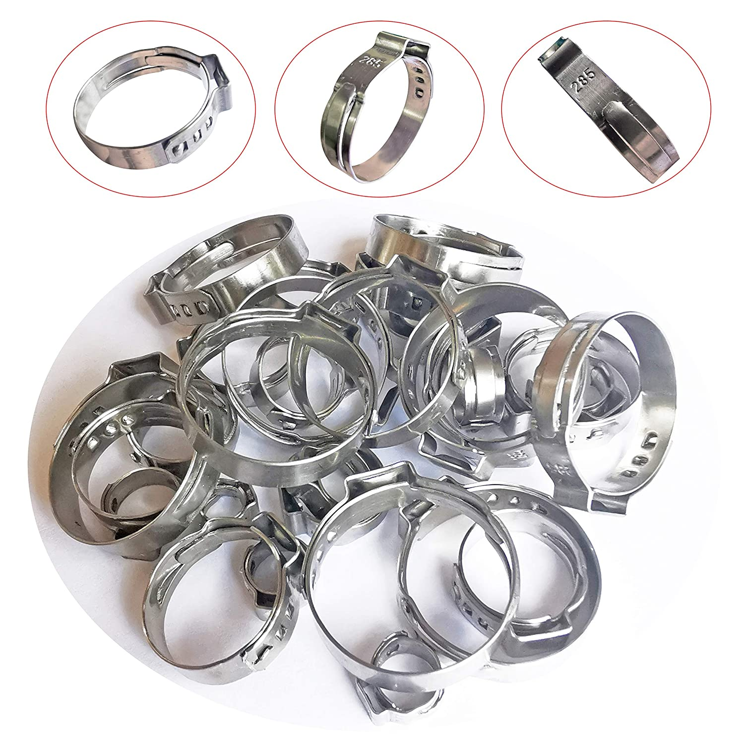 WYKA 22.4-25.6mm Range Stainless Steel-304 Single Ear Hose Clamps,Crimp Pinch Fitting,Fuel Line Hose Clips Water Pipe Air Tube Silicone Vacuum Hose Clamp Fastener,57//64-1,50 Pack