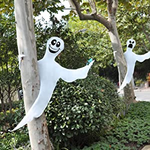 """JOYIN 53"""" Halloween Bendable Tree Wrap Ghost (2 Pack) for Halloween Decoration Outdoor, Lawn Decor, Tree, Pilar Decorations, Ghost Party Supplies"""