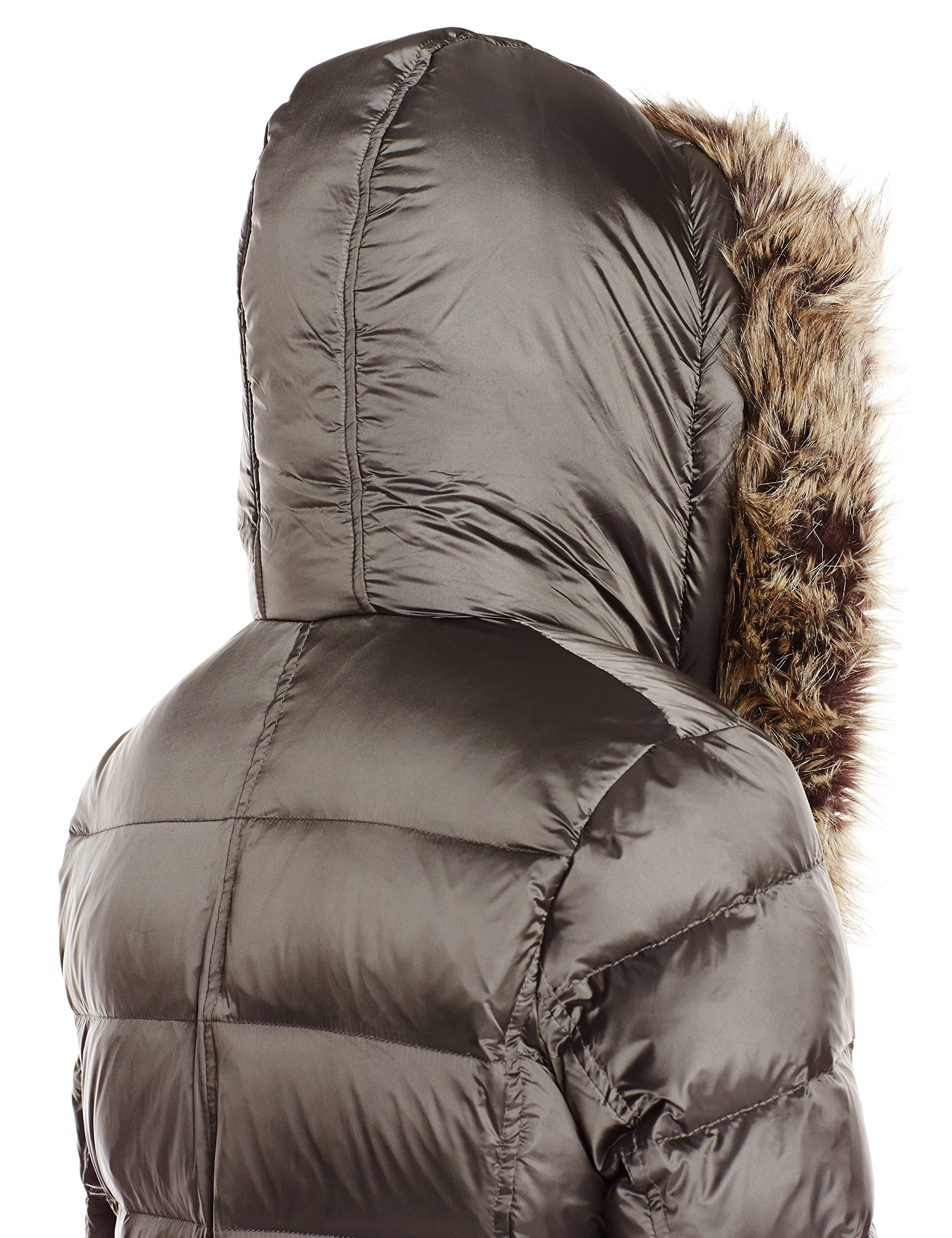 French Connection Women's Down Coat With Faux Fur Hood, Gunmetal, Medium by French Connection (Image #3)