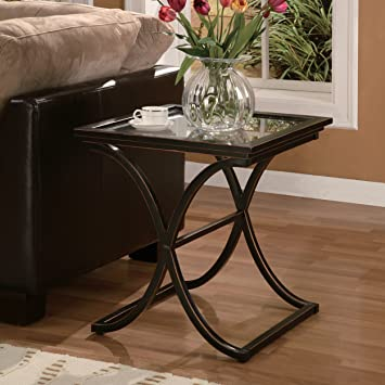 Southern Enterprises Vogue Side End Table, Black With Copper Distressed  Finish
