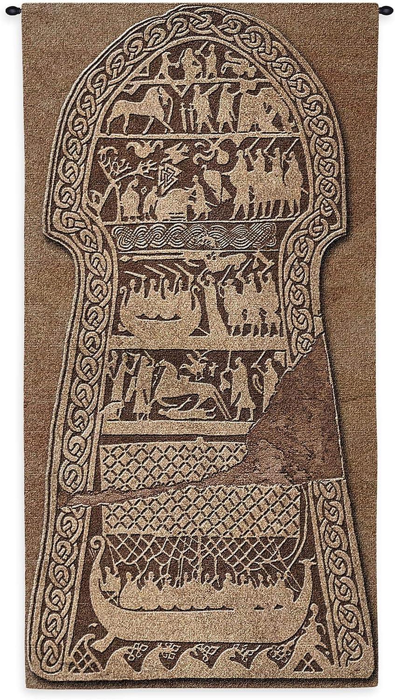Stora Hammar Stone by Valknut | Woven Tapestry Wall Art Hanging | Viking Runestone Norse Mythology | 100% Cotton USA Size 50x26