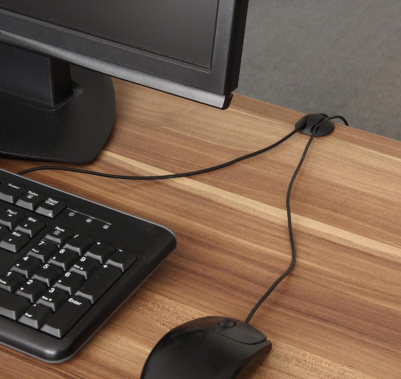 ECENCE Abrazaderas para cables autoadhesivas en Negro Set de 6 seguro para cables soporte para cable de carga del PC USB u otros fijaci/ón sencilla en madera cristal pl/ástico azulejo 11040102