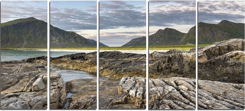 Rocky Coastline On Lofoten L Scape Photo Metal Wall Art Mt7171 60x28 5 Panels Home Kitchen