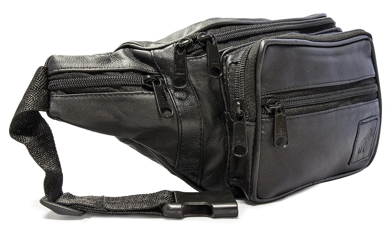 Bauchtasche Gürteltasche aus Leder mit Reißverschluss für Damen und Herren Hüfttasche für Sport Reisen Joggen Schwarz