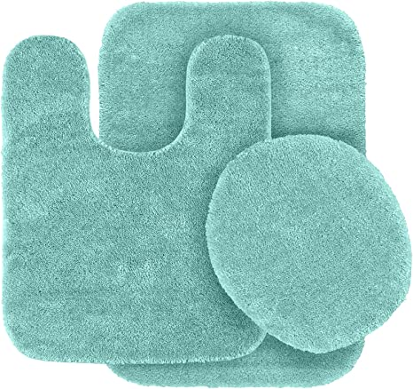 Amazon Com Garland Rug 3 Piece Traditional Nylon Washable Bathroom Rug Set Seafoam Home Kitchen
