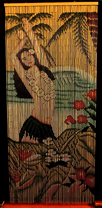 Curtains Ideas bead curtain room divider : Amazon.com: Bamboo Beaded Curtain Hawaiian Tropical Hula Dancer ...