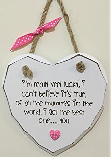 Lucky to have Best Mummy Shabby Chic Hand finished Wooden Heart Plaque  Mothers Day *P150