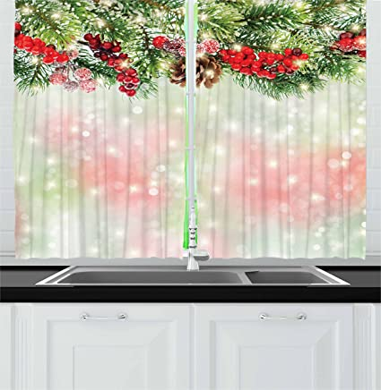 Ambesonne Christmas Kitchen Curtains Evergreen Fir Branches With Red Ripe Holly Berries Blurred Backdrop Garland