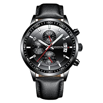 KASHIDUN Mens Watches Sports Military Quartz Wristwatches Waterproof Chronograph Leather Strap Black Color Red Hands
