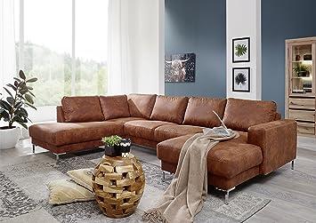 Massivmoebel24 De Wohnlandschaft 300x200x147 Cognac London Amazon