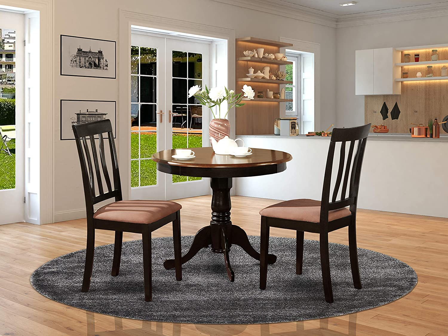 East West Furniture Dining Set 2 Excellent Wood Dining Chairs A Beautiful Wood Dining Table Pu Leather Seat And Black Finnish Round Wooden Dining Table Furniture Decor
