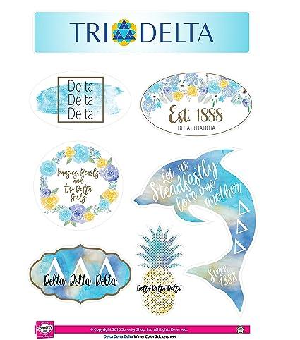 Delta Delta Delta Sticker Sheet Watercolor Theme