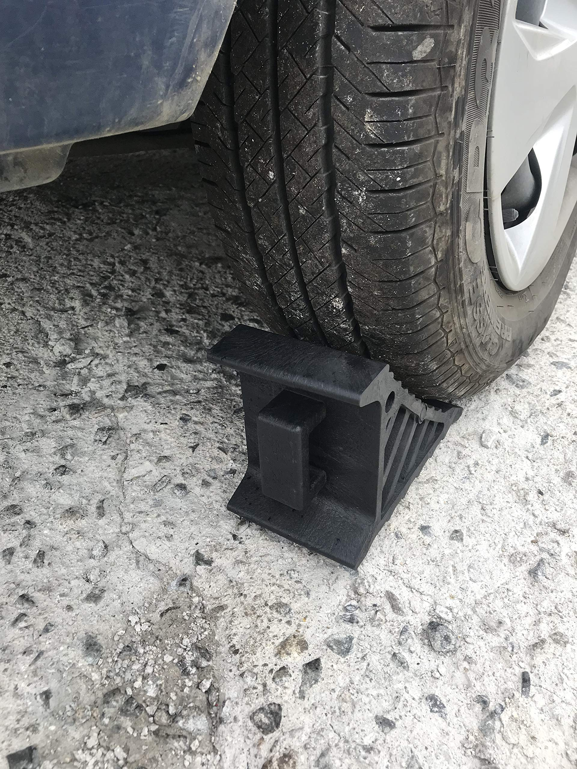DK Safety, 306A Heavy Duty Wheel Chocks with Handle, Wheel Immobilizer, Trailer Chocks, Car Chocks, Truck Chocks, Wheel Chocks, Keep Your Vehicle in Place - Pack of 2 (Medium)