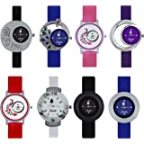 Frida Combo Of 8 Analogue Multicolor Dial Womens Watch-Wat-W05-201-202-203-204-205-206-207-208