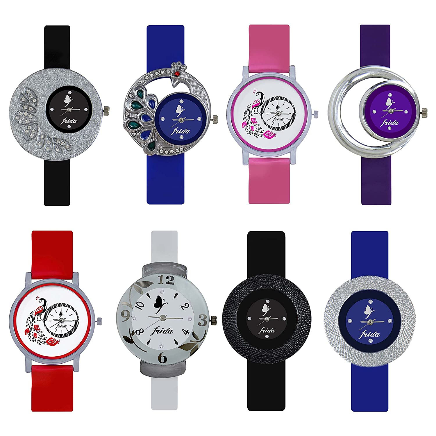 Buy Frida Combo Of 8 Analogue Multicolor Dial Womens Watch-Wat-W05 ...