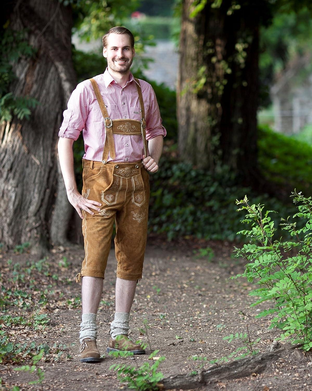 in pregiata pelle scamosciata Pantaloni in pelle al ginocchio con bretelle stile tradizionale per Tracht bavarese taglie 44-60 ideali per lOktoberfest