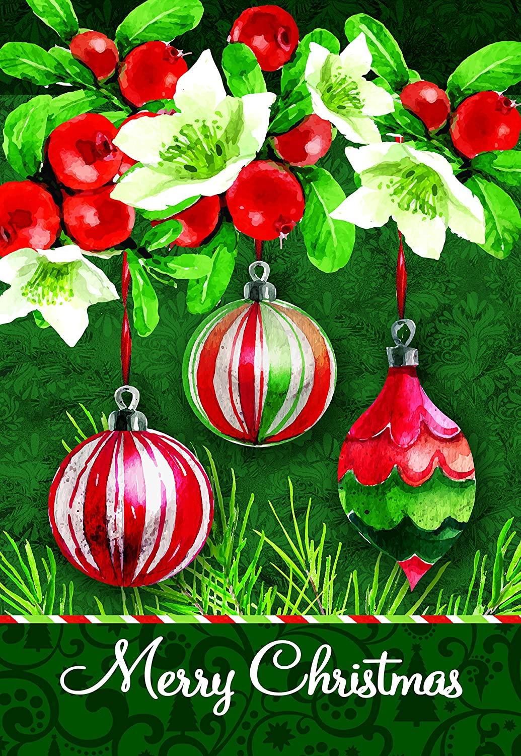 Lantern Hill Red And Green Merry Christmas Ornaments Garden Flag Double Sided 12 5 X 18 Inches Winter Holiday Seasonal Decorative Banner Amazon In Garden Outdoors