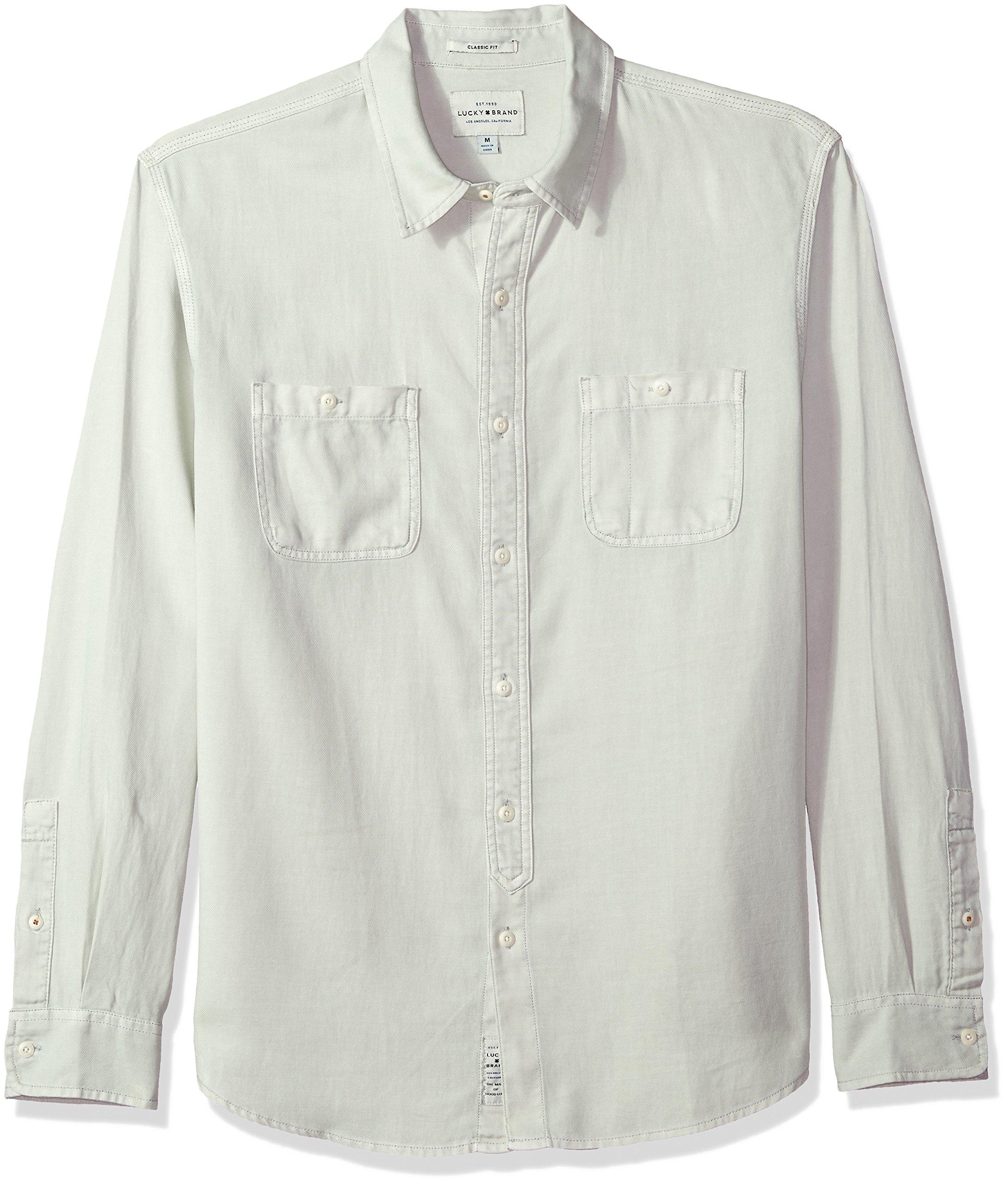 Lucky Brand Men's Casual Long Sleeve Workwear Button Down Shirt, Mint, XL