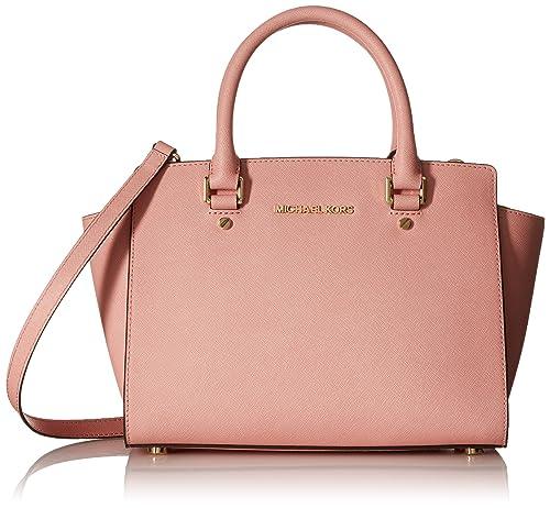 Michael Kors Selma Saffiano Leather Medium Satchel - Pale Pink  Amazon.in   Shoes   Handbags 2358c2a10f21c