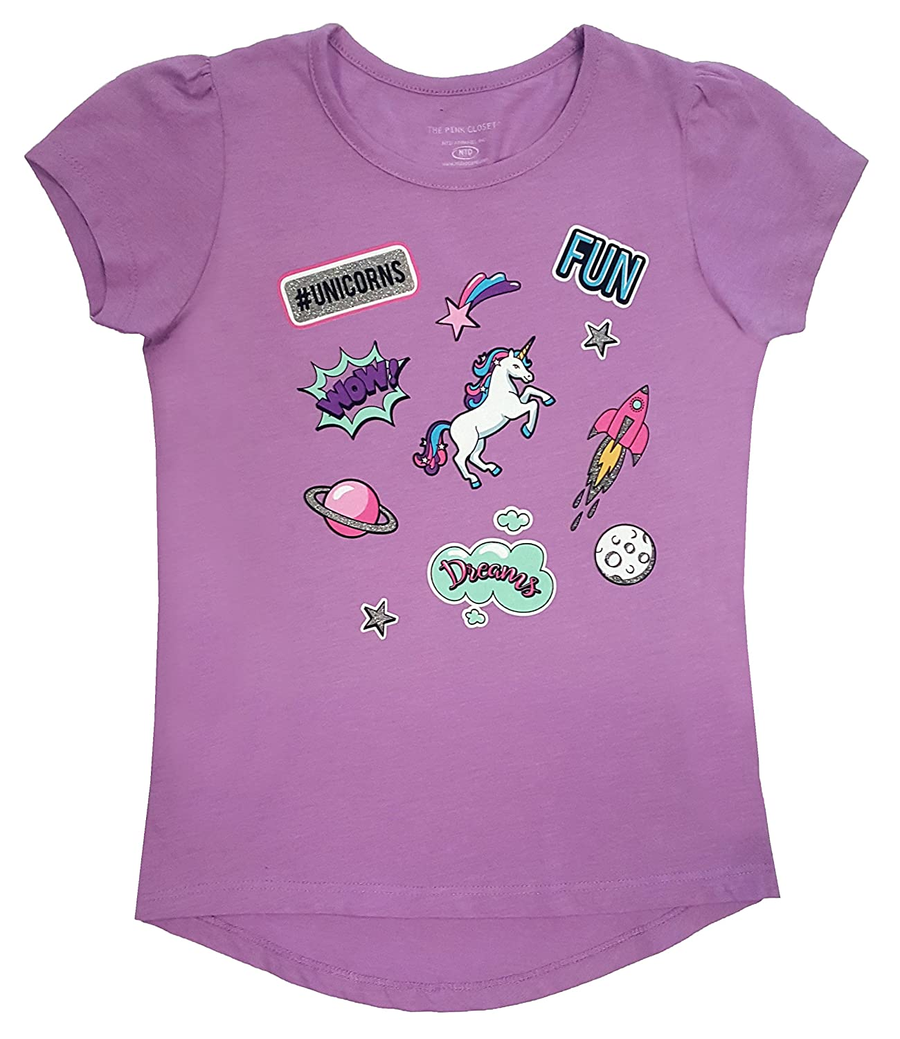Novel Teez Designs - Girl's Unicorn Short Sleeve Shirt with Puff Shoulders, Lilac NTD Apparel