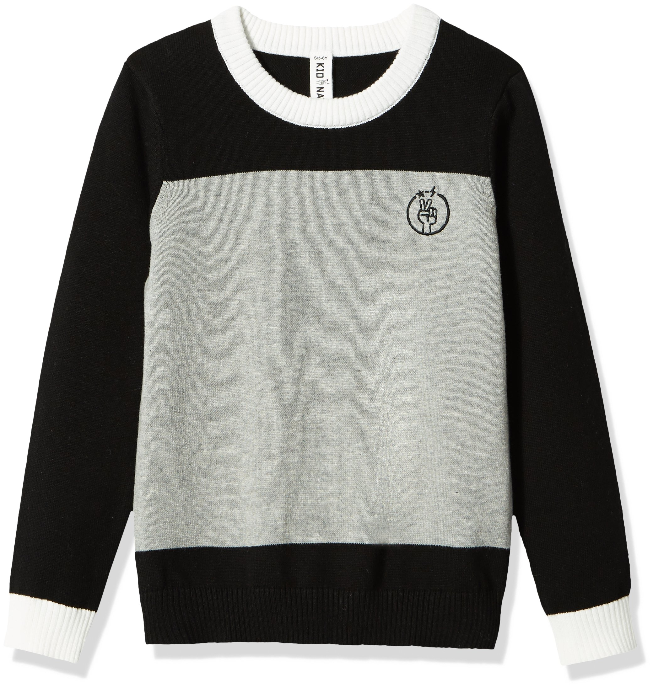 Kid Nation Kids'' Long Sleeve Color Blocked Sweater for Boys or Girls L Black