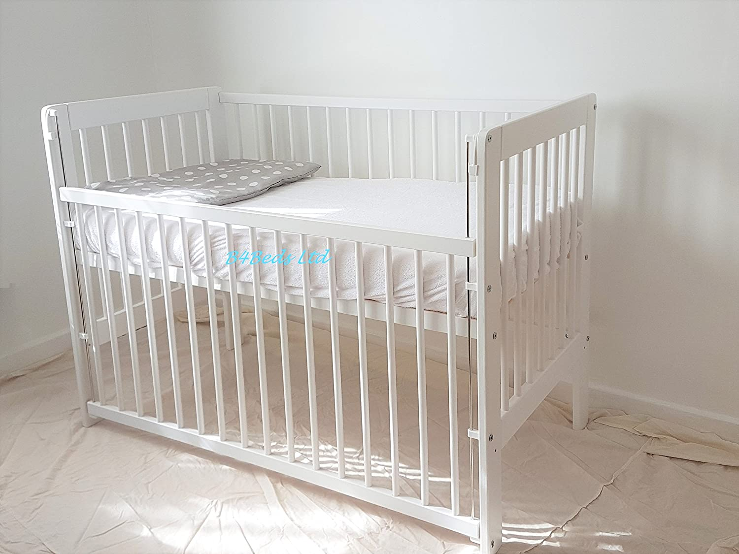 Baby Dropside Cot Bed White Junior Toddler Bed with Foam Mattress B4Beds©