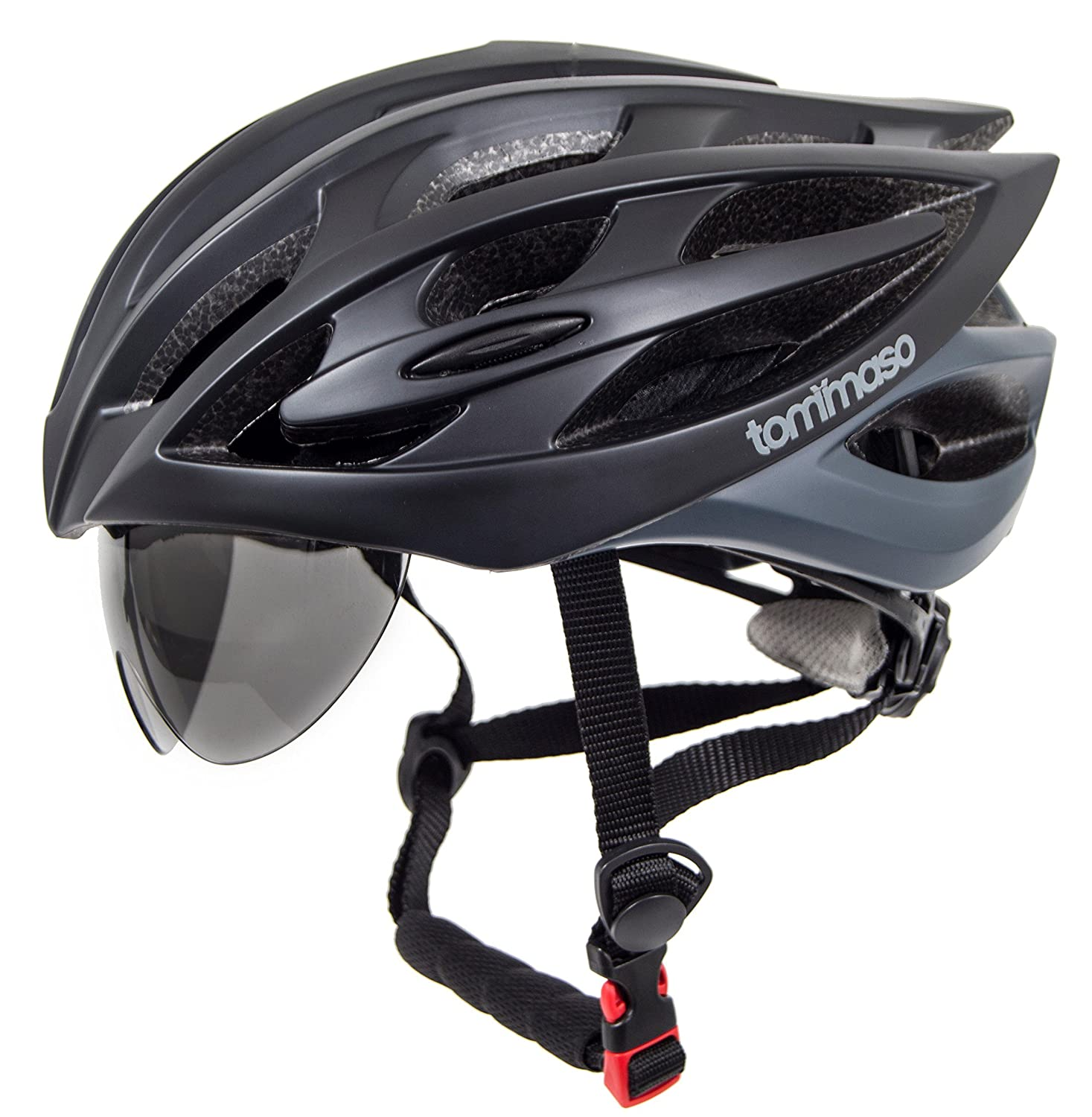 Tommaso Sole Lightweight Cycling Helmet Retractable Eye Shield Road MTB Adjustable Fit 2 Sizes 4 Colors Black,Matte Black,White,Titanium Certified Safe Protection Men Women Youth