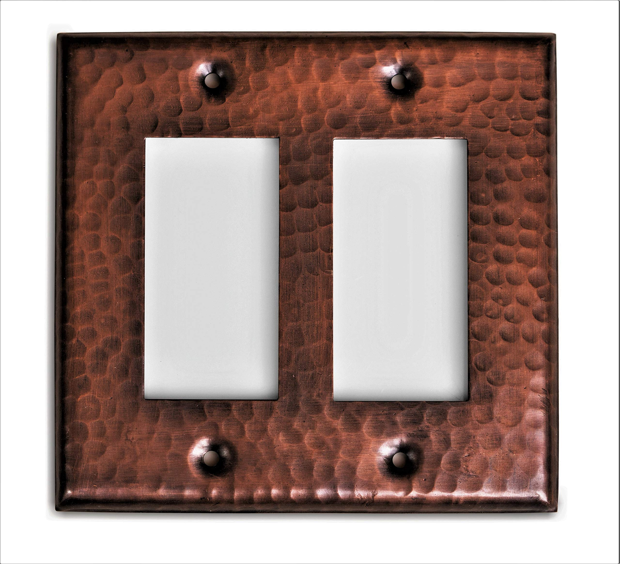 Monarch Pure Copper Hammered Double Rocker Wall Plate / Switch Plate