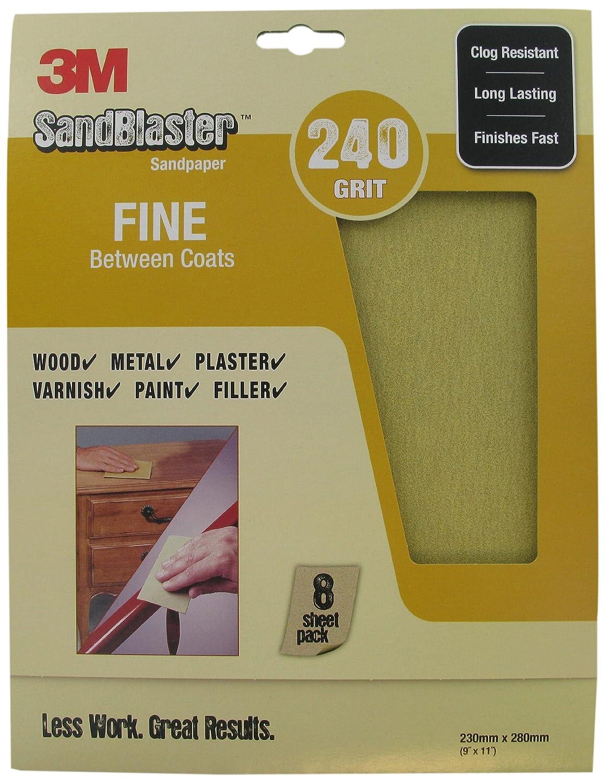 3M SandBlaster 28240 Fine P240 230 x 280mm Between Coats Sandpaper Sheets (8 Sheets)