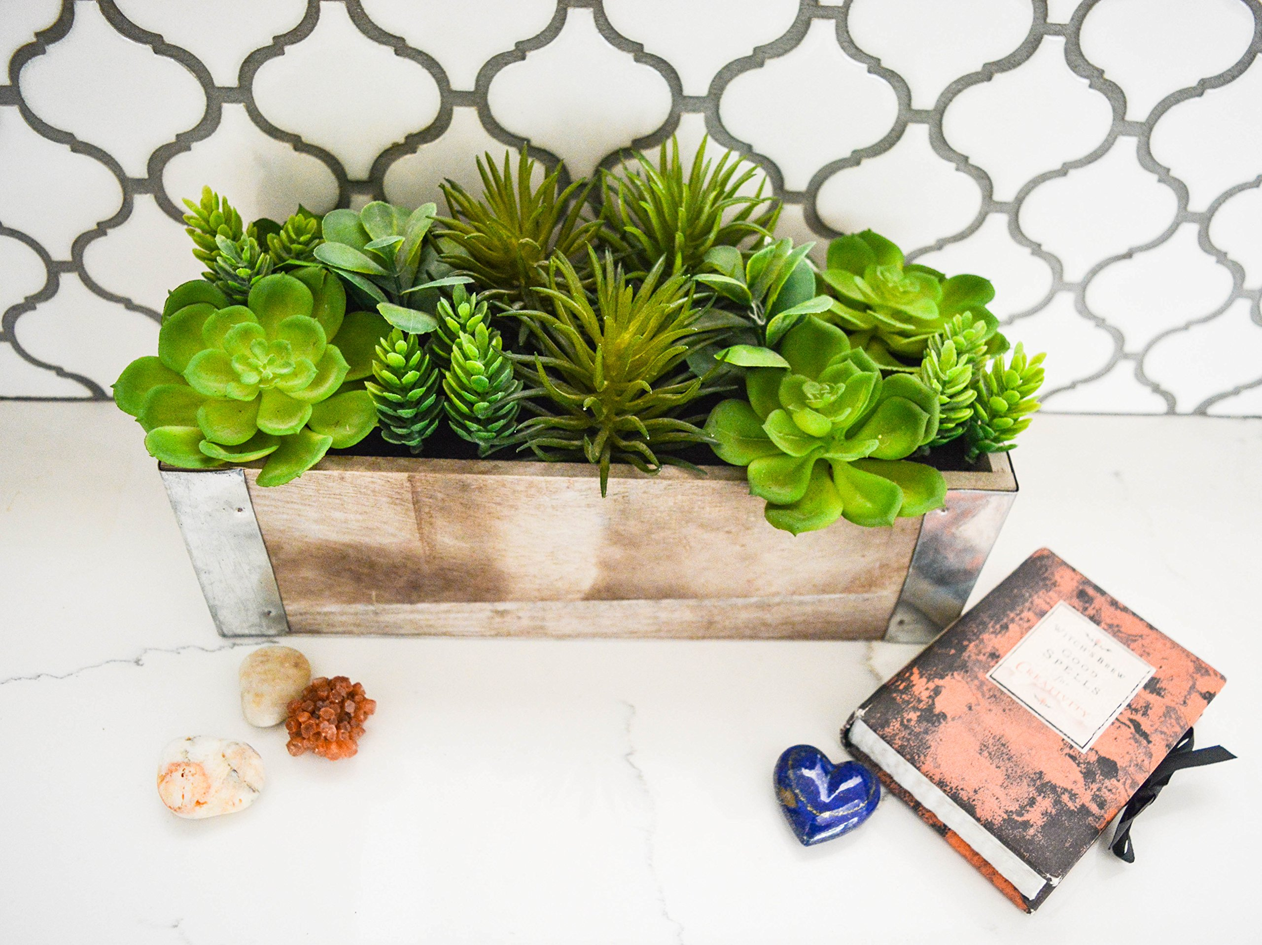 Admired By Nature Potted Succulents Plant Artificial Wood Planter, Green by Admired By Nature (Image #2)