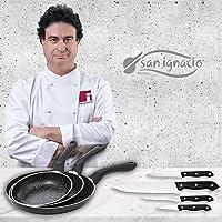 San Ignacio Black&Marble - Set 3 sartenes (16-20-24 cm) y 4 cuchillos, aluminio prensado con revestimiento de mármol…