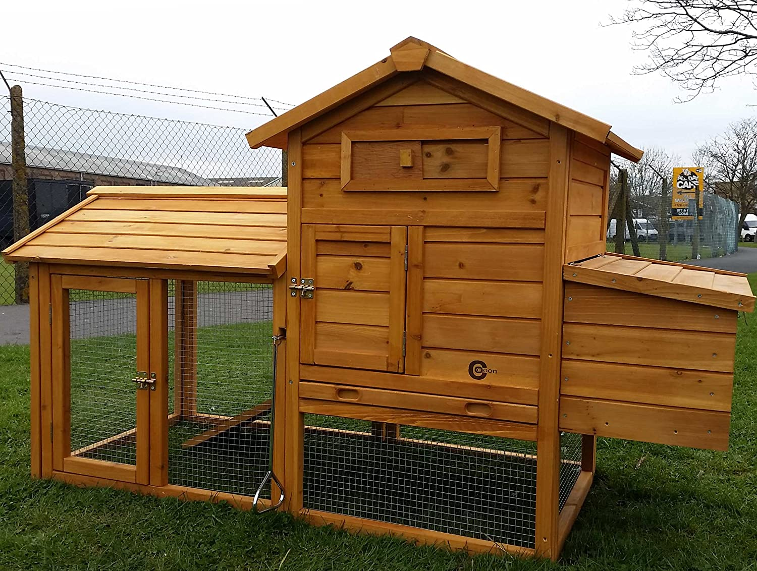 hen hutch run pet chicken nest homcom s house clearance supplies box coop hutches wooden rabbit size poultry