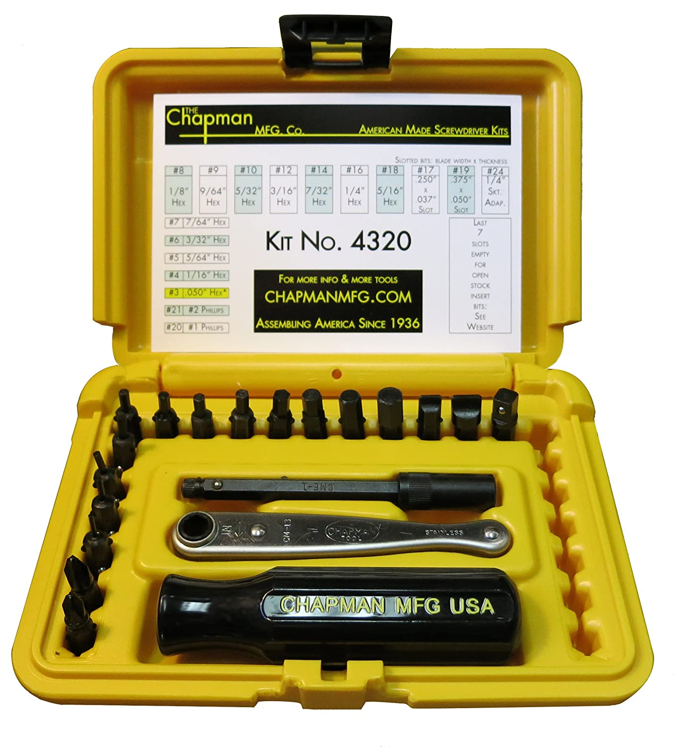SAE /& Metric Hex Bits Metric Complete Set Offers 51 Insert Bits for Torx Screws 300+ Combinations Slotted Includes Phillips Chapman MFG 5575 Master Screwdriver Set 56 Pieces Star Bits
