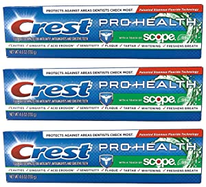 Crest Pro-Health with a Touch of Scope Whitening Toothpaste, 4.6 oz (Pack of 3) - Packaging May Vary