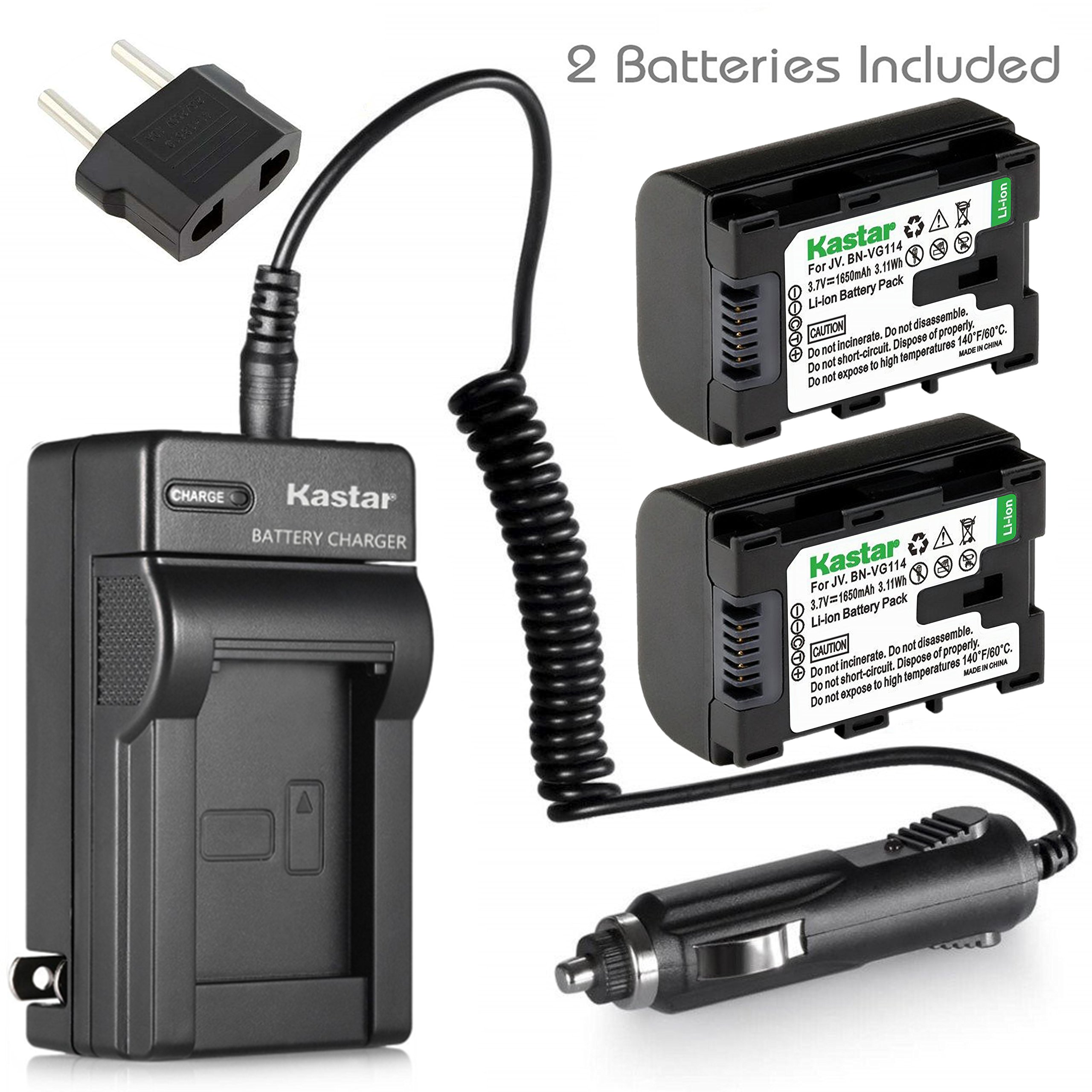 Battery (2-Pack) and Charger for JVC BN-VG107U, BN-VG108U, BN-VG114U, BN-VG121U Li-ion Rechargeable Battery Pack by Kastar