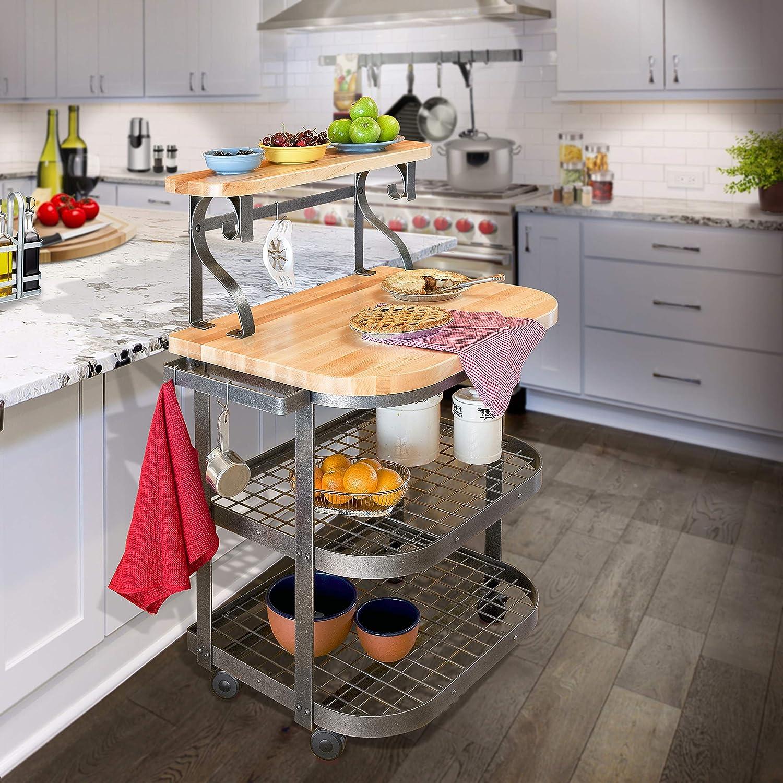 Enclume Baker s Cart with Ash Butcher Block, Hammered Steel