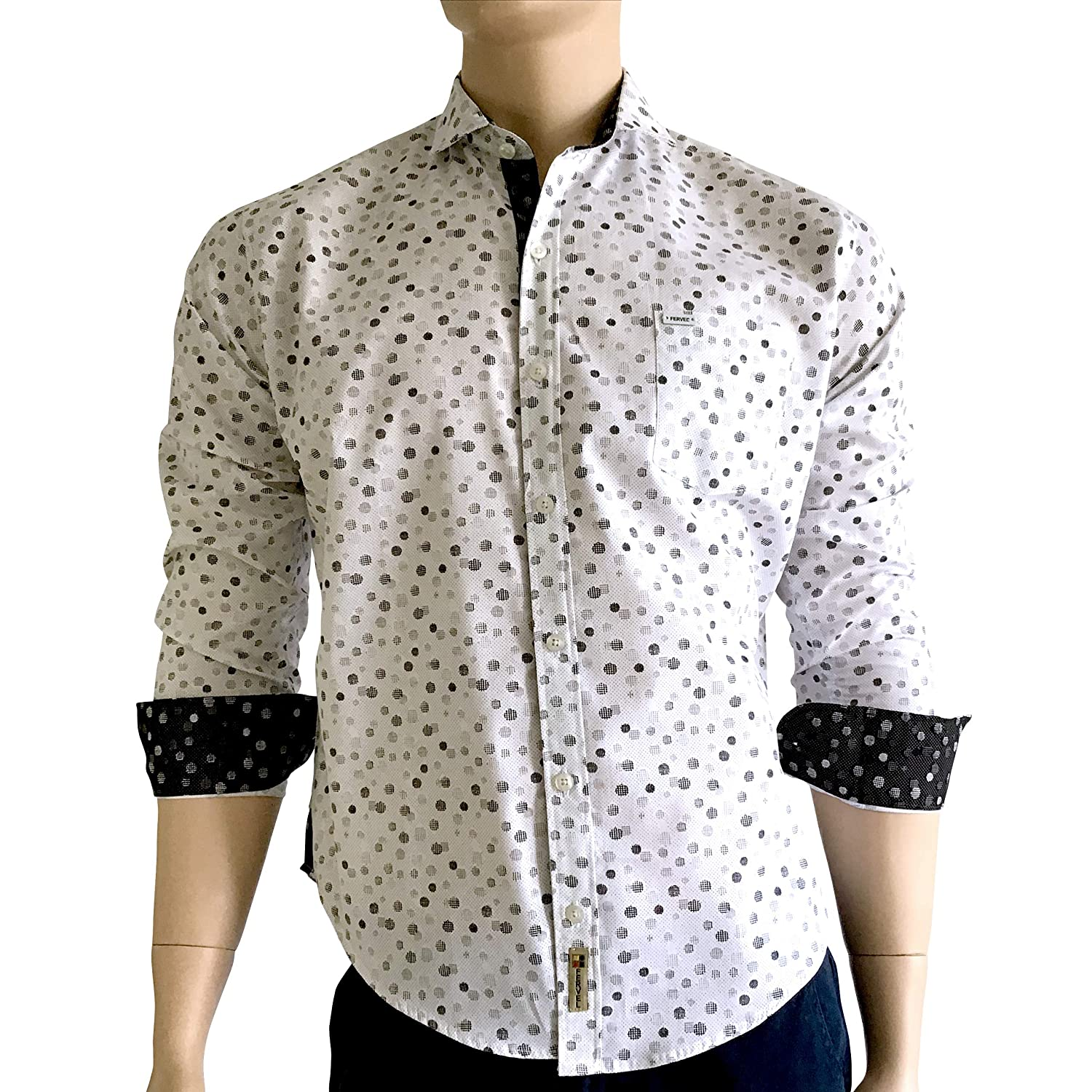 Fervel Mens Slim-Fit Long Sleeve Shirt Printed White Cotton Nacre Buttons (N) at Amazon Mens Clothing store: