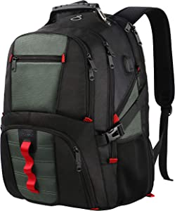 TSA Friendly Durable Laptop Backpack with USB Charging Port,Water Resistant Big College School Computer Bookbag for Women Men Fit 17Inch Laptops,Dark Gray