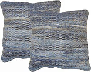 Chardin home Eco Friendly Cotton Denim Rags and Jute Decorative Square Throw Pillow Covers, 24