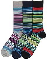 K. Bell Men's Surape Stripe Crew Socks, 3 Pair, Multicolor