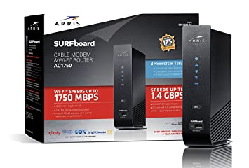 ARRIS Surfboard SBG7580AC 32x8 DOCSIS 3 0 Cable Modem / AC1750 Wi-Fi  Router- Black