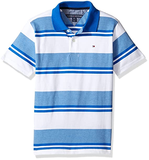 ced4413d7952 Tommy Hilfiger Boys' Little Short Sleeve Striped Polo Shirt, Deep Dive  Blue, Small