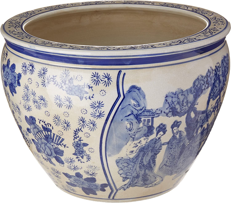 "Oriental Furniture 14"" Ladies Blue & White Porcelain Fishbowl"
