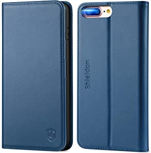 "SHIELDON iPhone 8 Plus Case, Genuine Leather iPhone 7 Plus Wallet Case Book Design with Flip Cover and Credit Card Slot Magnetic Closure Kickstand Compatible with iPhone 7 Plus (5.5"") - Royal Blue"