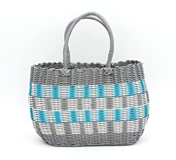 d64f58e3c Gris Teal laterales en forma Tejido plástico bolsa Retro bolsa de playa de  Picnic cesta de Craft: Amazon.es: Hogar