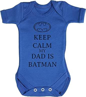 TRS - Calm My Dad Is Batman Regalo para bebé, Body para bebé niño, Body para bebé niña 100% Algodón