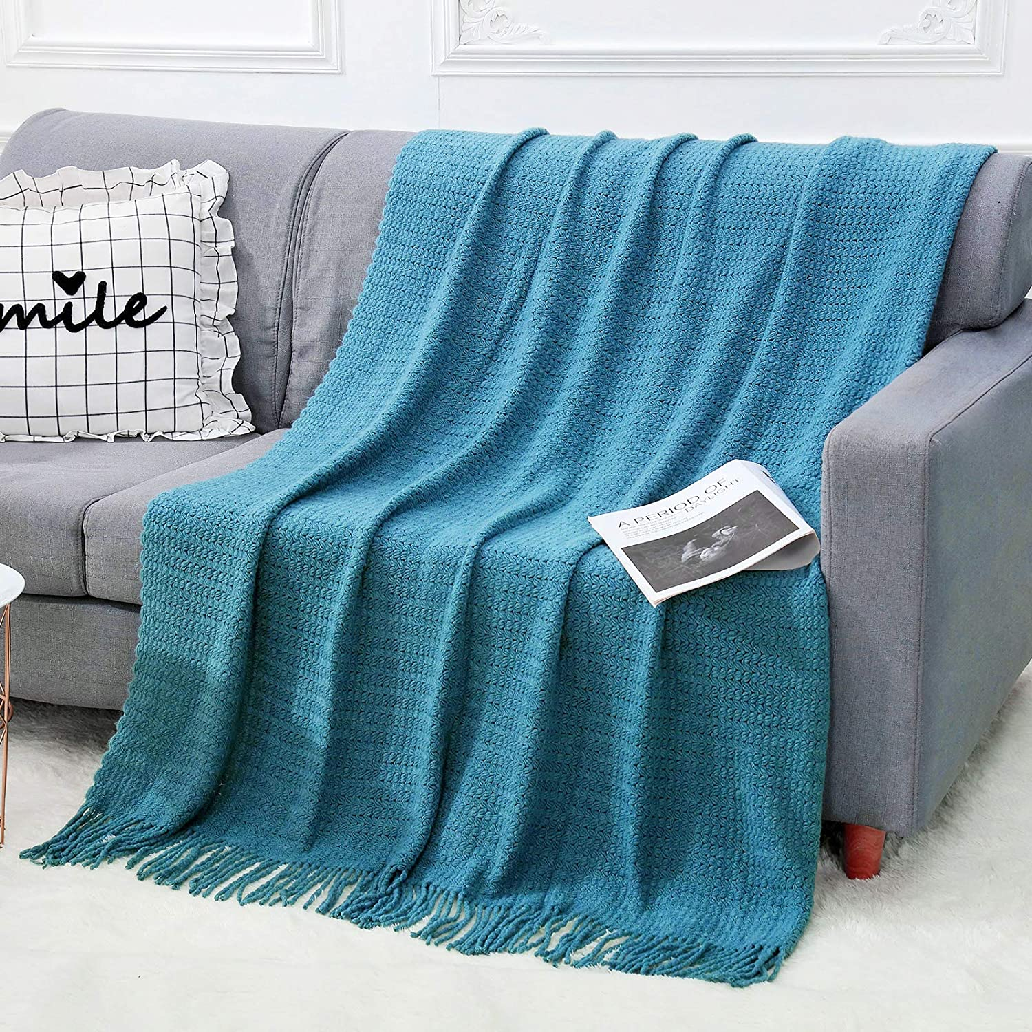 NTBAY Cotton Sumptuous Extra Soft Throw Blanket Decorative Knitted Blankets