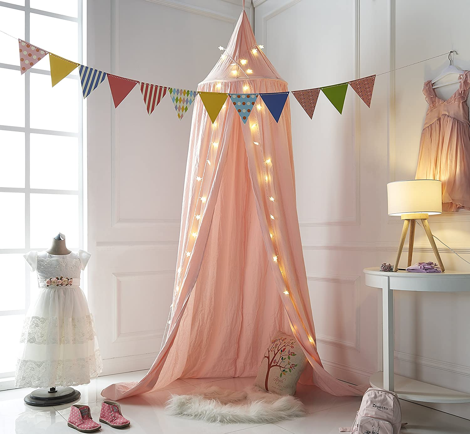 Truedays Dome Princess Bed Canopy Mosquito Net Children Room Decorate (White)