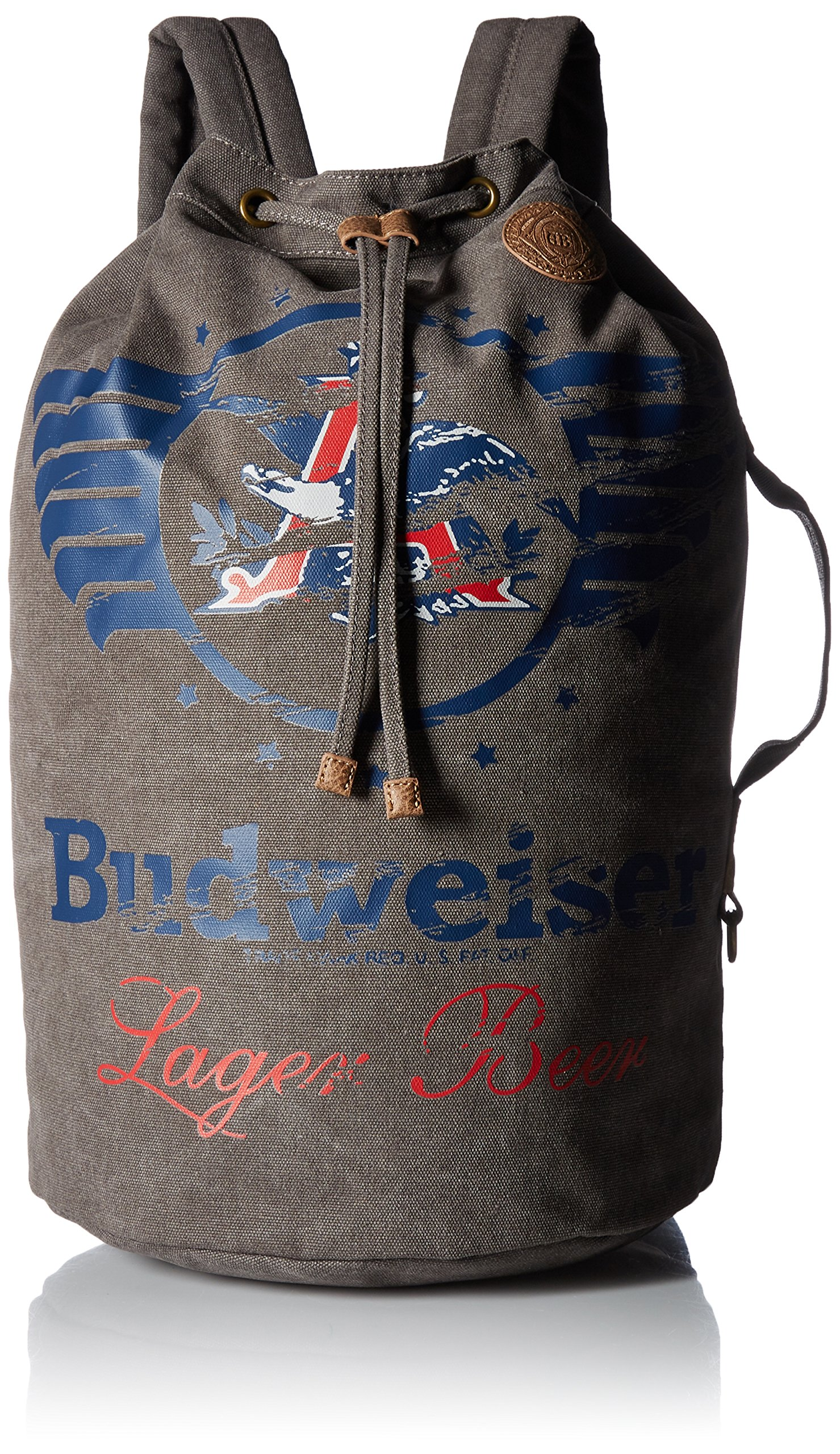 Budweiser by Buxton Men's Eagle Wings Drawstring Bucket Bag Accessory, grey,